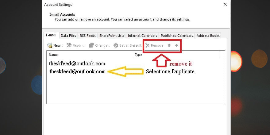 Remove an existing account in order to fix [pii_email_9adeb2eb81f173c673a5] error