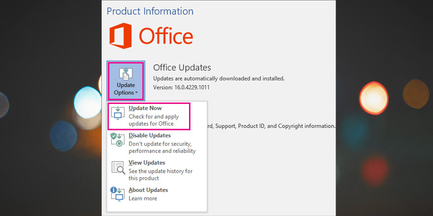 Update Microsoft offices' outlook to fix error pii_email_9adeb2eb81f173c673a5